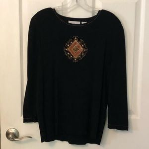 Black embellished sweater from Alfred Dunner